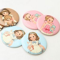 Wholesale Cute Cartoon Round Pocket Mirror Girls Cosmetic Mirror
