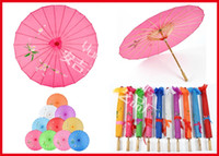 art with frame - 40pcs Chinese Umbrella Bamboo Frame Wooden Handle Wedding Parasol Pure Color with no logo Artificial Silk Art Umbrella