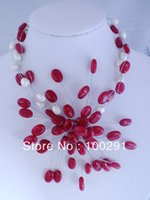 agate wire necklace - Handmade Wired Pearl Agate Flower Necklace