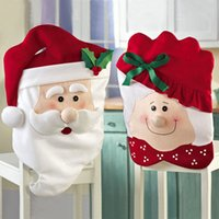 Wholesale 2015 new hot Christmas Mr Mrs Santa Claus Hat Chair Back Cover Table Room Holiday Decoration SD