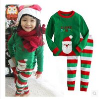 Wholesale New Christmas Pajamas Long Sleeve Pyjamas Boy Girl Autumn Winter Pajamas Kids Pajama Sets Xmas Pajamas Baby Sleepwear Kids Cothes Set A00410