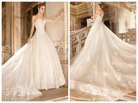 Cheap Ball Gown Wedding Dresses 2015 Sweetheart Neck Sleeveless Zipper Back Lace Appliqué Removable Cathedral Train Bridal Gowns Demetrios 4330