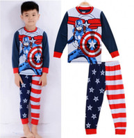 Wholesale Cartoon Captain America Kids Baby Boys Nightwear Pj s Sleepwear Pajamas set children clothes Y