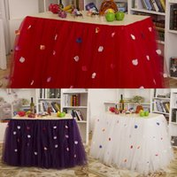 banquet table skirts - 2015 Pastoral Wedding Tutu Table Skirt with Petals cm White Purple Red Tulle Tutu Table Skirts for Banquet and Party and Birthday