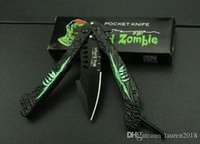 Wholesale Mad Zombie swinging knife HRC aluminum handle color box cr13blade oxide black surface pocket knife foldinig knife gift