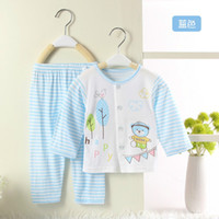 bamboo baby pajamas - Summer Thin Solid Color Bamboo Fiber Clothes Sets Baby Clothes Child Air condition Pajamas