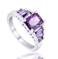 achat en gros de zircon diamant solitaire-Anneaux de mariage pour les femmes 925 Anneaux de mariage en argent sterling plaqué or autrichienne en or blanc Zircon cubique diamant Sapphire Gemstone Rings