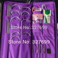 Cheap Wholesale-Aluminum Knitting Needle Kits Straight Needles Ring Needles Set Circular Needlework Crochet Hooks Set Hand Tool PU bag