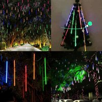 Wholesale 8pcs set Snowfall LED String Light Christmas Rain tube cm Meteor Shower Rain LED Lights V EU US plug