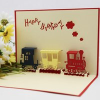 Wholesale Train happy end edge line of creative handmade three dimensional paper sculpture greeting cards diy blessing birthday cards