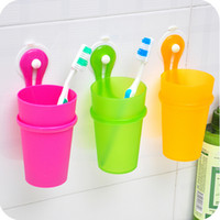 Wholesale Sucker hanging toothbrush storage backet wall suction cup toothpaste toothbrush holder WC8