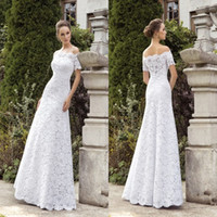 gorgeous fabrics - 2015 Sheath Wedding Dresses Off Shoulder Short Sleeve Lace Fabric Bridal Gowns Fashion Gorgeous Dress For Church Wedding Spring