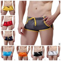 board shorts - Free DHL Sexy Mens Boxer Swimwear with Tie Hi cut Trunks Bathing suits Swim shorts for Men
