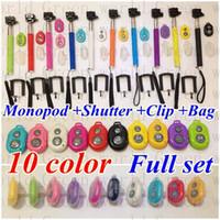 bags portraits - Free DHL Self Photograph Sets Handheld Self portrait Monopod Bluetooth Selfie Remote Shutter Clip Holder Bag for shutter