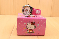 Wholesale 10PCS hello kitty cartoon kids girls children alloy wristWatch with boxes gifts quartz watch