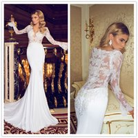 bead drapes - 2014 Chiffon Beach Wedding Dresses V Neck Ruffles Beaded Sequined Crystal Sweep Train Elegant Mermaid Long Sleeve Wedding Gowns Hot Sales