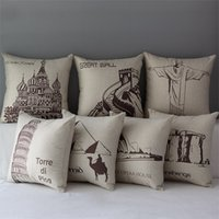 architecture sketches - The World s Great Art Architecture Pattern Pillow Cover Home Decorative Pillowcase Cotton Linen Scenery Sketch Print