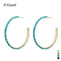 basketball wives bamboo earrings gold - Bamboo Joint Basketball Hoop Earrings for Women Wives Earings Summer Mix Color Enamel Big Size Huggie Ear Fashion Jewelry ER154621