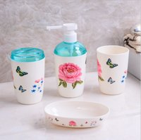 Wholesale Bathroom sets toothbrush holder wash gargle suit creative bathroom accessories household items plastic bath set A