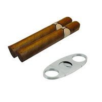 Wholesale S5Q Silver Stainless Steel Pocket Cigar Cutter Knife Double Blades Scissor Shear AAAEMH