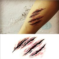 Wholesale 2015 Halloween Makeup Terror Scary Wound Tear the werewolf claw marks Waterproof Tattoo Stickers Temporary Tattoos