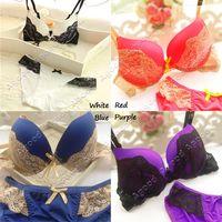 women underwear set - 2015 New fashion Women s Sexy Push up Lace Bra Underwear Panties Set Purple Red Blue White colors SV007671