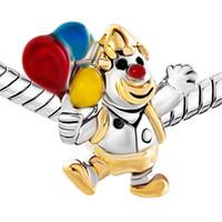 balloon bracelet - 10pcs per Enamel Multicolor Rhodium and Gold Plating Clown Balloon Christmas European Bead Charm For Pandora Bracelet