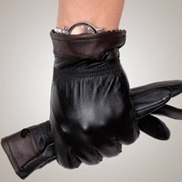 mens sports gloves - 2015 Mens fashion winter warm thick leather gloves Genuine sheepskin gloves Male Real Leather driving sports glove GR206