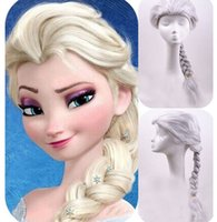 Wholesale Synthetic Frozen Snow Wig Cartoon Children Cosplay Hair Wigs Princess Queen Elsa Anna Fluffy Long Curly Blonde Braid Free DHL Factory Price