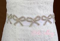 Wholesale Bow Fashion Wedding Accessories Crystal Rhinestone Beaded Ribbon Wedding Belt Luxury Bridal Sash For Evening Dress pieces PR893