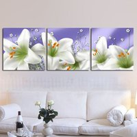 bh oil - 3 Piece Modern Wall Painting Beautiful Flowers Home Decorative Art Picture Paint on Canvas Pure hand painted XD BH