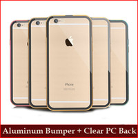 For Apple iPhone apple slip covers - Iphone S S Plus Aluminum Metal bumper frame case with Clear PC Back Cover Bumper slip cover Packplane for iphone S Galaxy S6 S6 Edge