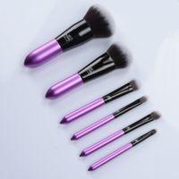 Precio de Cepillos para el cabello viajes-Gracedo Deluxe Travel Brush Kit Mini 6 piezas púrpura cepillo conjunto calidad suave cabra belleza del cabello maquillaje cosméticos cepillo Blender DHL Free