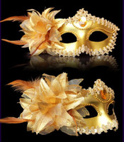 Wholesale masquerade masks for adults venetian feather mask half masks with Lateral flowers mardi gras masks halloween decorations party masks
