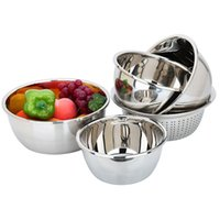 Wholesale Five piece thick stainless steel pots vegetables basin and basin Wash rice sieve basket of fruits and vegetables draining