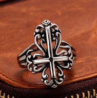 bank cross - High Quality European And American Fashion Ring Vintage Bank Punk Style Ring Stainless Steel L Cross Rings For Men R0023