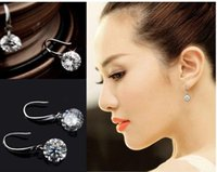 Cheap 1 pair 925 Sterling Silver Fashion luxury noble Shiny Drop Earrings Free shipping