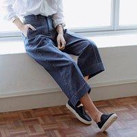 asia jeans - Wholesales Women Pants Retro Wide Leg Jeans Casual Loose Straight Denim Pants Womens Capris Asia Size S XL XK0188 salebags
