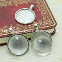 clear glass - set Antique silver Metal Alloy mm Round Pendant Cabochon Settings Clear Glass Cabochons D011