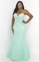 Wholesale 2015 Sexy Plus Size Mint Green Mermaid Prom Dresses Applique Sweetheart Backless Lace Evening Dresses Beading Zipper Sleeveless Party Gowns