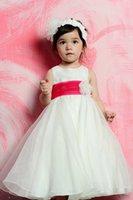 Venta caliente baratos niñas vestidos 2015 Organza una línea joya cuello cremallera rojo cinturón flor sash de longitud completa