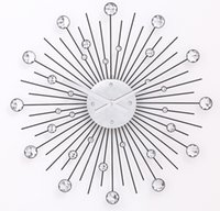 alumium wire - Antique Black inch Star Wall Clock Stainless Steel Wire Alumium Dial with Clear Acrylic Stones Inlaid