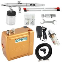 airbrush tanning kit - OPHIR Airbrush Cosmetic Makeup System Mini Air Compressor Airbrush Kit for Tanning Body Paint Cake Decorating_AC003G AC093 AC011