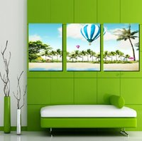 air over oil - 3 Panel Modern Painting Home Decorative Art Picture Paint on Canvas Pure hand painted Hot air balloon over the beach