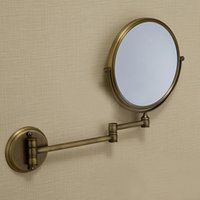 bath mirror frames - 6 quot Dual Makeup Mirror Brass Cosmetic Bathroom Face Bath Mirror Quality Dual Arm Extend Folding Bathroom Mirror