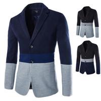 Wholesale New Autumn winter Fashion Mens Hit color stitching suit Casual Fashion Suits For Men Slim Fit Blazer color