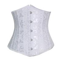 Wholesale Dobby waist training corsets steel boned short corselet and bustiers black underbust corset steel cincher bustiers for women