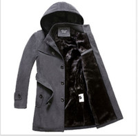 belted puffer coat - Fall S XL Plus Size New Thicken Mens Woolen Fleece Lined Hooded Belt Puffer Coat Overcoat Outwear Single Breasted Parka