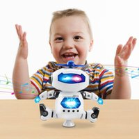 Wholesale Robots Toy Creative Walking Dancing Electronic Robot Children Kids Toys Music Light for Christmas Gift Space Robot Degree Rotating with