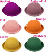 Wholesale New Arrive Vintage Women Lady Cute Trendy Wool Felt Bowler Derby Fedora Hat Cap Hats Caps